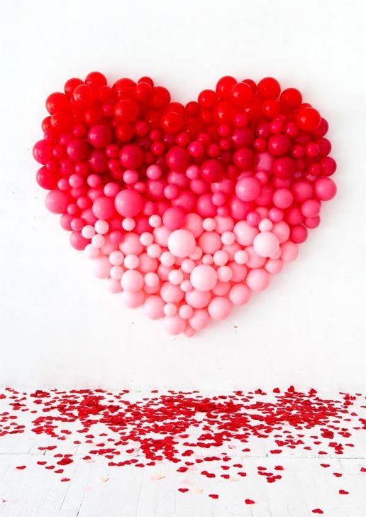 mur de ballons coeur degradé